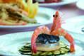 Antipasti a base di pesce e verdure.